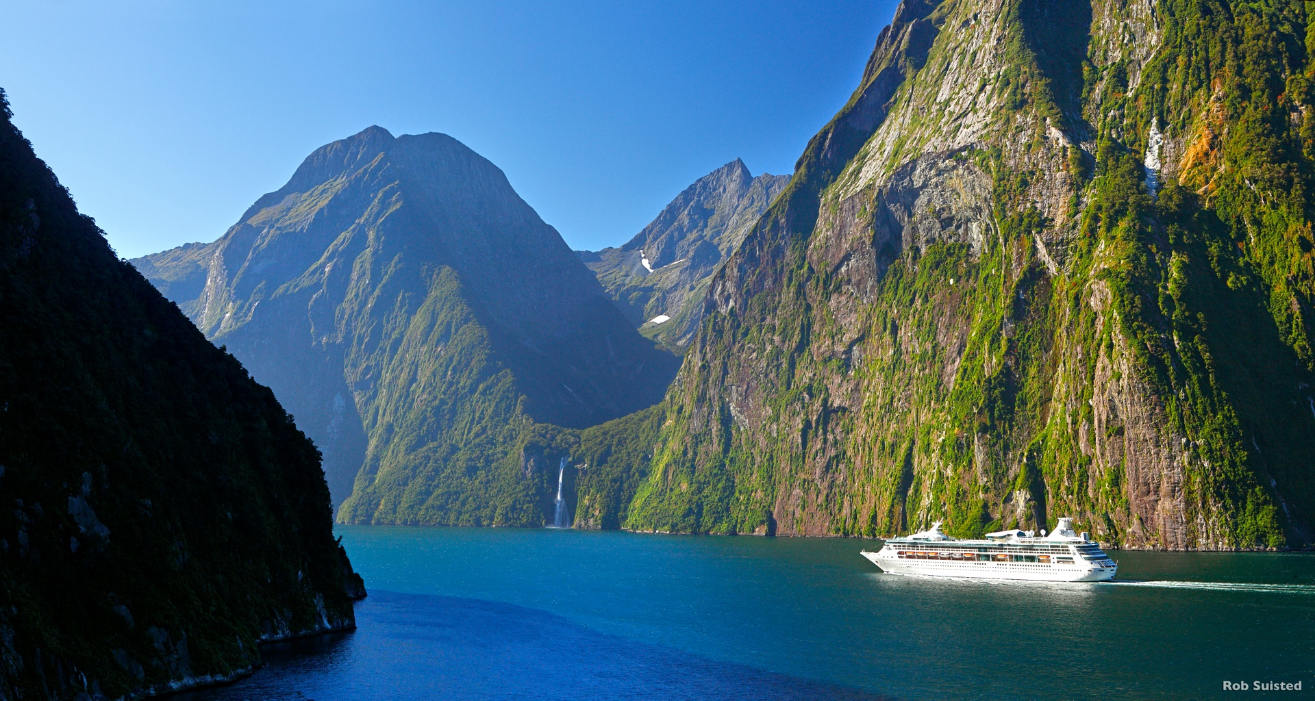 Mitre Peak takes centre stage in this perfect view of Milford Sound in summer.